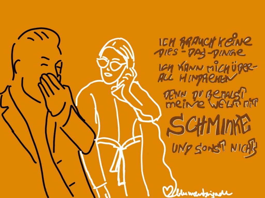Mine und Fatoni SONGSKETCH zu  SCHMINKE (c) Renate Strümpel