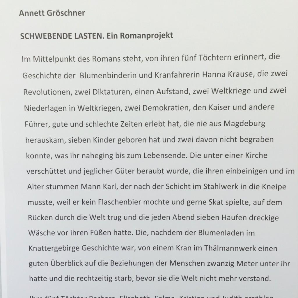 Schwebende Lasten Beschreibung Annett Gröschner