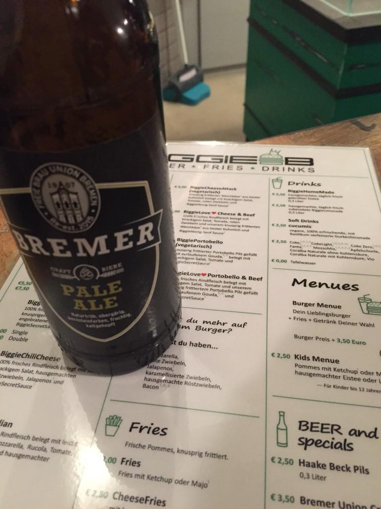 Biggie B Menükarte und Union Pale Ale