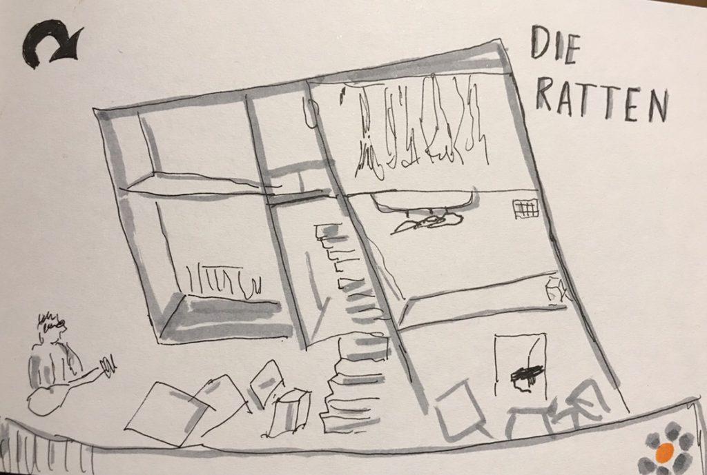 """Zeichnung des Bühnenbildes von """"Die Ratten"""""""