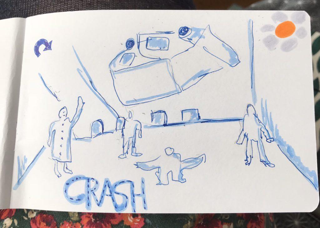Urbansketch zur Crash Premiere im Theater Bremen