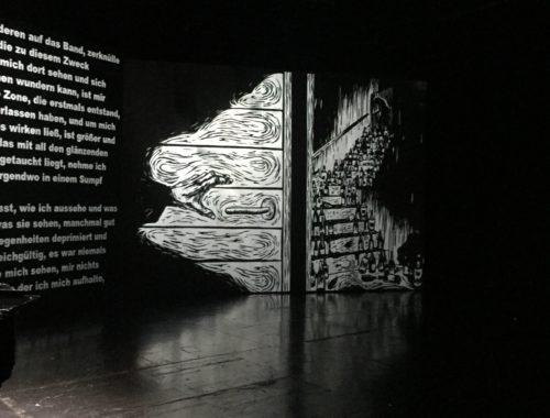 Knausgard Sterben Theater Bremen Projektion mit Text